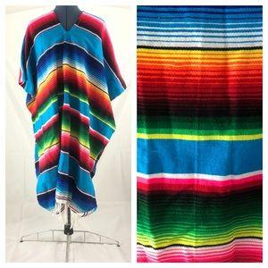 Vintage Mexican Blanket Serape Poncho, Rainbow